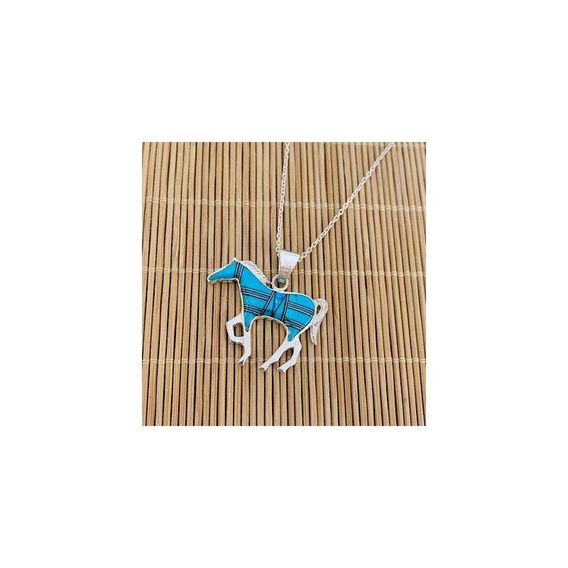 Arizona Turquoise and Inlaid Jewelry Horse Pendant