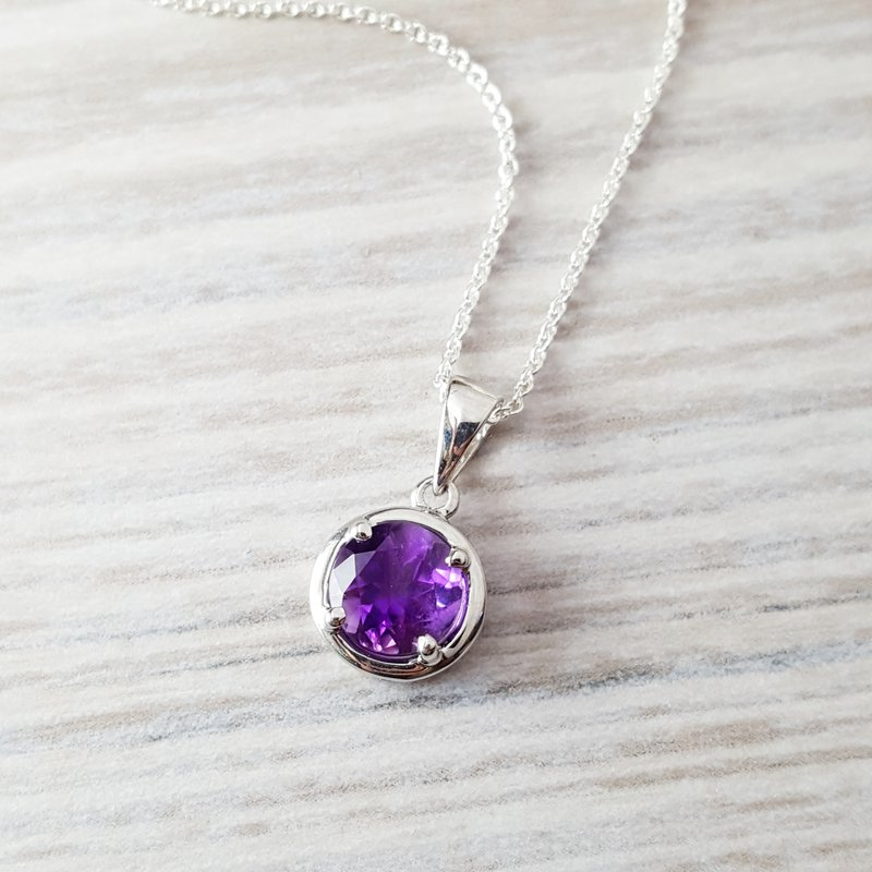 Arizona Amethyst™ Silver Jewelry Round Solitaire Necklace