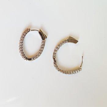 In-Out Diamond Hoop Earrings in 14K White Gold (1 ct. tw.) I2/I3 - H/K