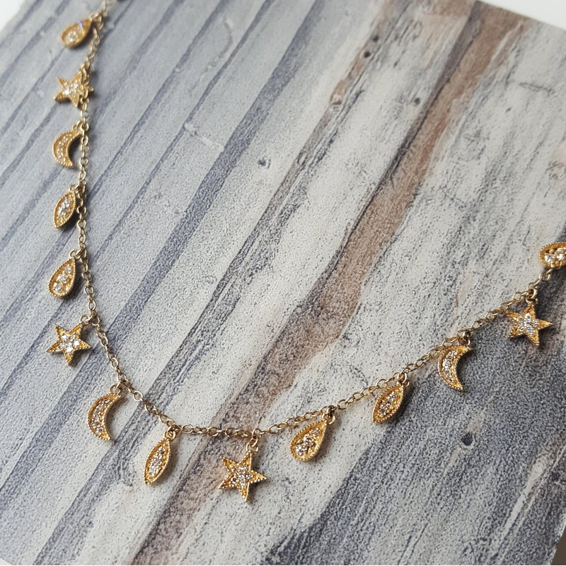 Sami Fine Jewelry Moon and Star Necklace