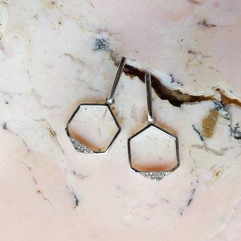 Dangle Hexagon Earrings
