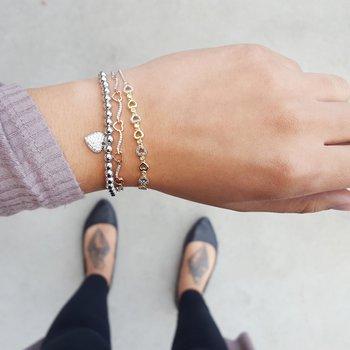 Heart Bolo Diamond Bracelet in Two-Tone Sterling Silver (1/8 ct. tw.)