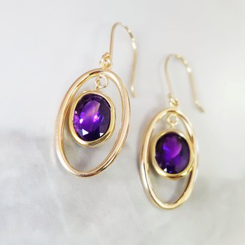 Open Dangle Amethyst Earrings