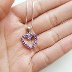 Arizona Amethyst™ Silver Jewelry Open Heart Necklace