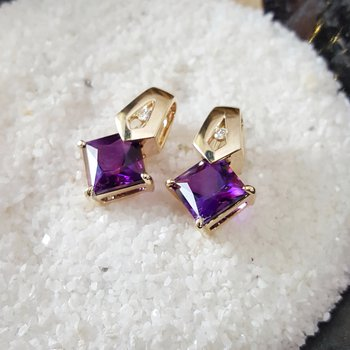 Princess Cut Amethyst Studs