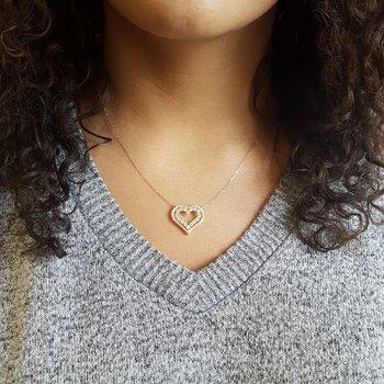 Diamond Double Open Heart Pendant Necklace (1 ctw