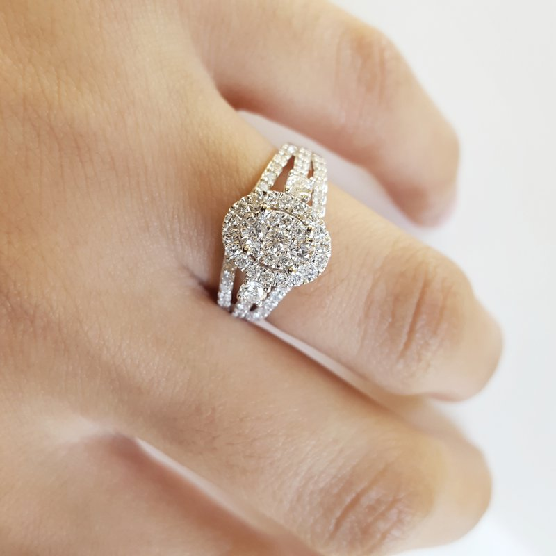 Sami Fine Jewelry Oval Pavé Diamond Halo Ring
