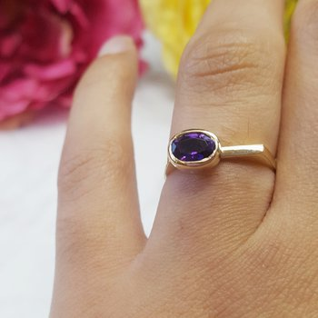 Oval Bezel Amethyst Ring