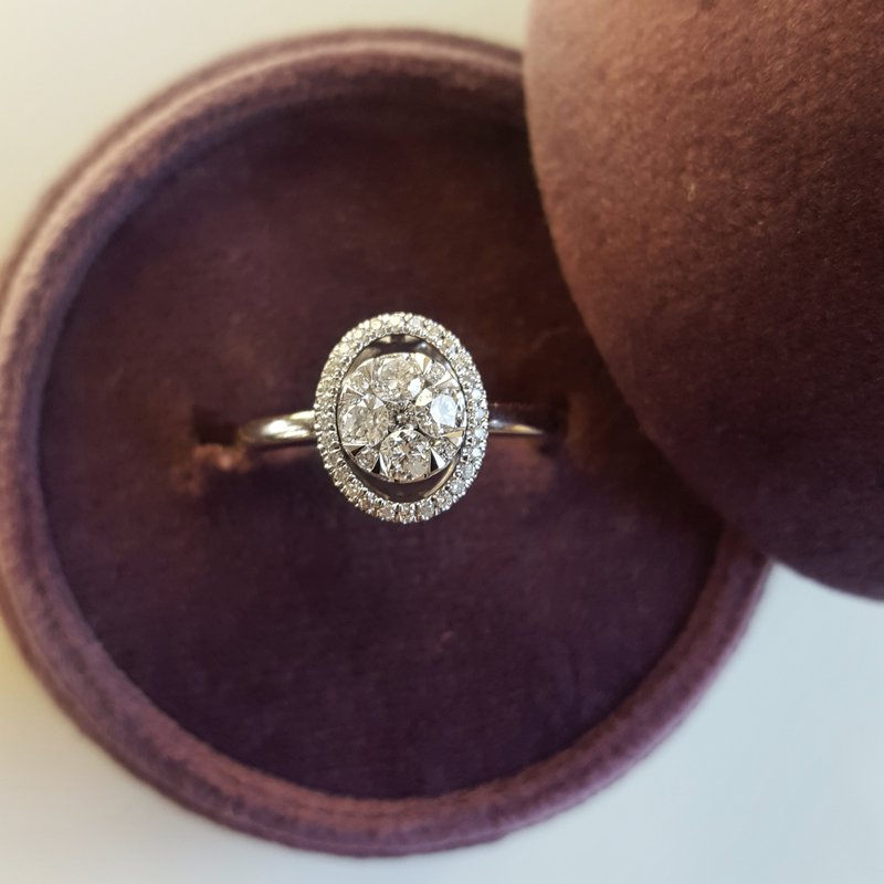 Gems One Oval Diamond Halo Ring in 14K White Gold (1/2 ct. tw.)