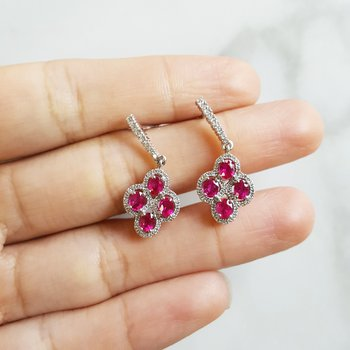 Honeycomb Ruby Drop Earrings