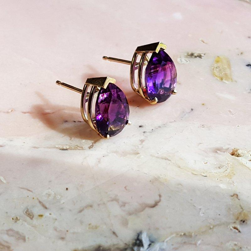 Arizona Amethyst™ Gold Jewelry Essential 3 1/4CT Pear Studs