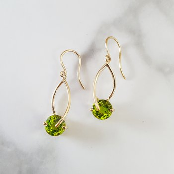 Peridot Checkerboard Cut Dangle Earrings