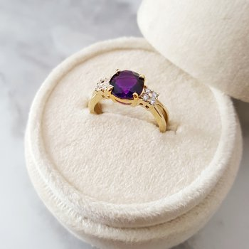 Round Open Band Amethyst Ring