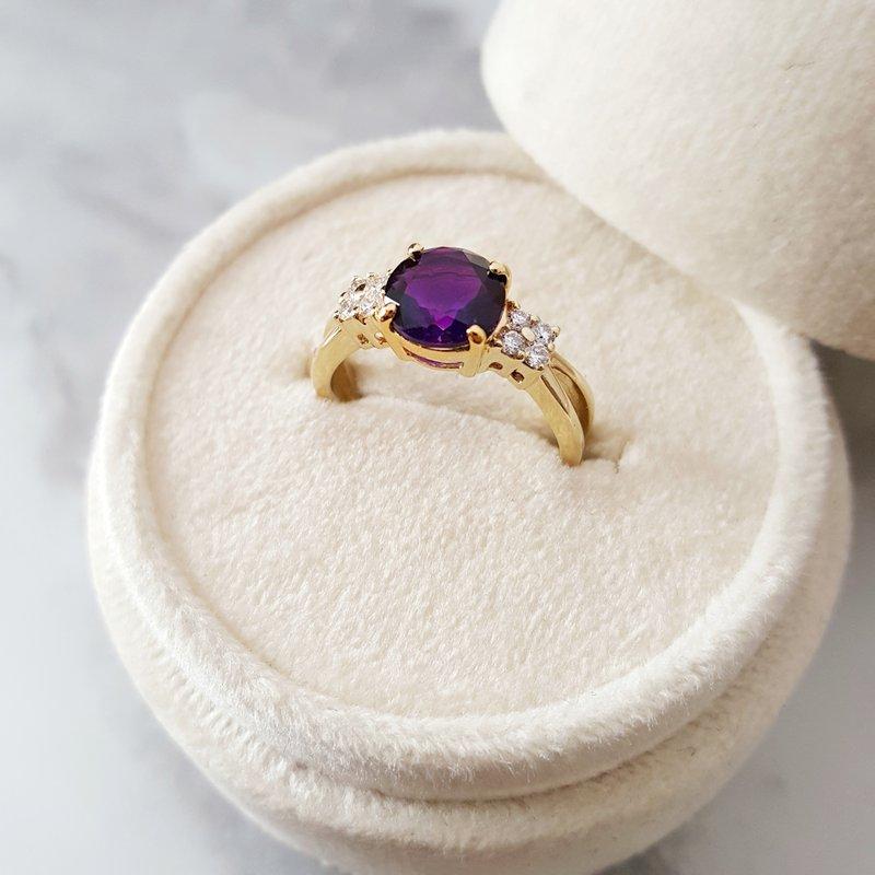Arizona Amethyst™ Gold Jewelry Round Open Band Amethyst Ring