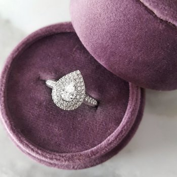 Pear Double Halo Ring