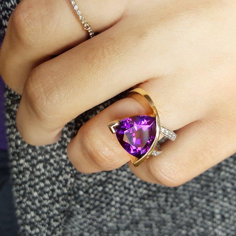 Arizona Amethyst™ Gold Jewelry Two-Tone Ring