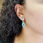 Arizona Turquoise and Inlaid Jewelry Elegant Marquise Drop Stud Earrings