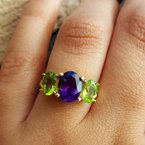 Arizona Amethyst™ Gold Jewelry Arizona Three Stone Ring