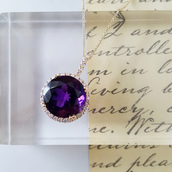 Round Arizona Amethyst Halo Necklace