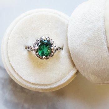 Dark Green Tourmaline Ring