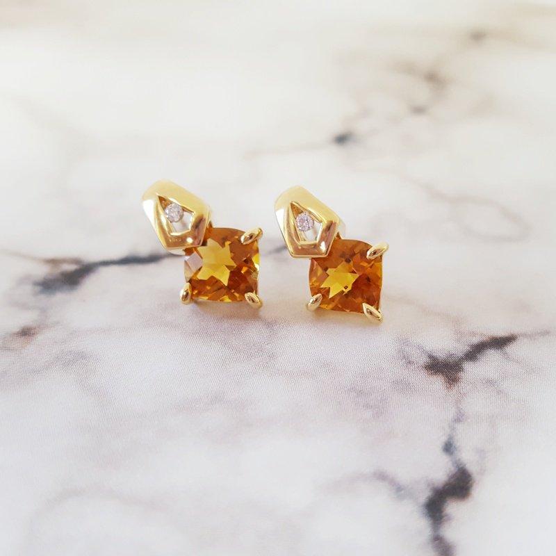 Sami Fine Jewelry Citrine Checkerboard Earrings