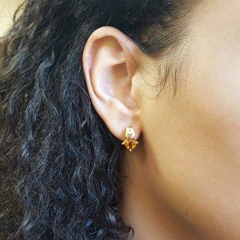 Citrine Checkerboard Earrings