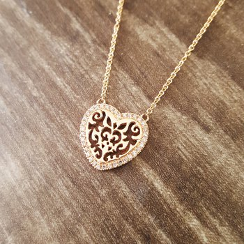 Scroll Heart Necklace