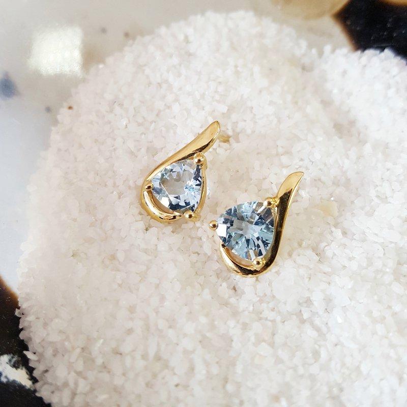 Sami Fine Jewelry Aqua Trillion Studs