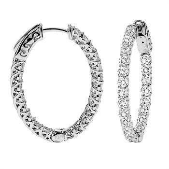 14k White Gold Diamond Hoops