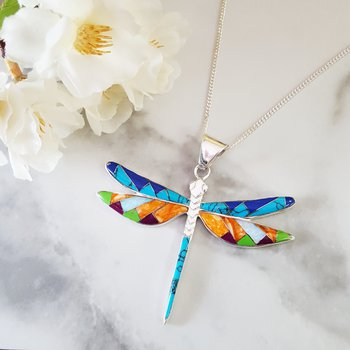 Arizona Turquoise and Inlay Dragonfly Pendant
