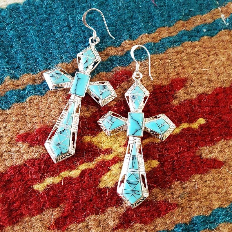 Arizona Turquoise and Inlaid Jewelry Large Modern Cross Dangle Earrings