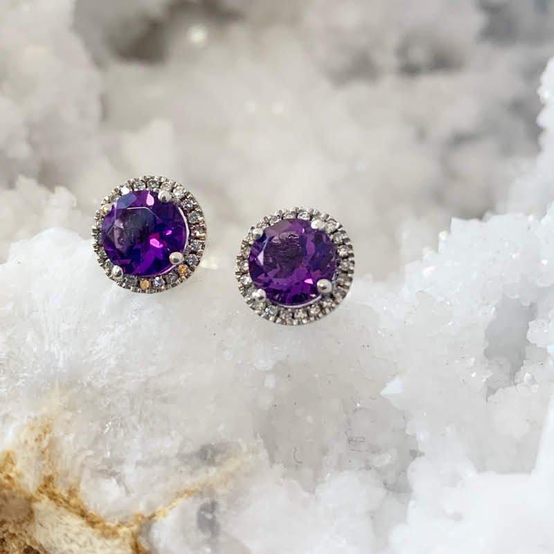 Arizona Amethyst™ Gold Jewelry Amethyst Round Halo Stud