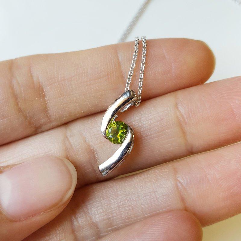 Arizona Peridot Silver Jewelry Peridot Bypass Necklace