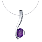 Arizona Amethyst™ Silver Jewelry Oval Curve Pendant