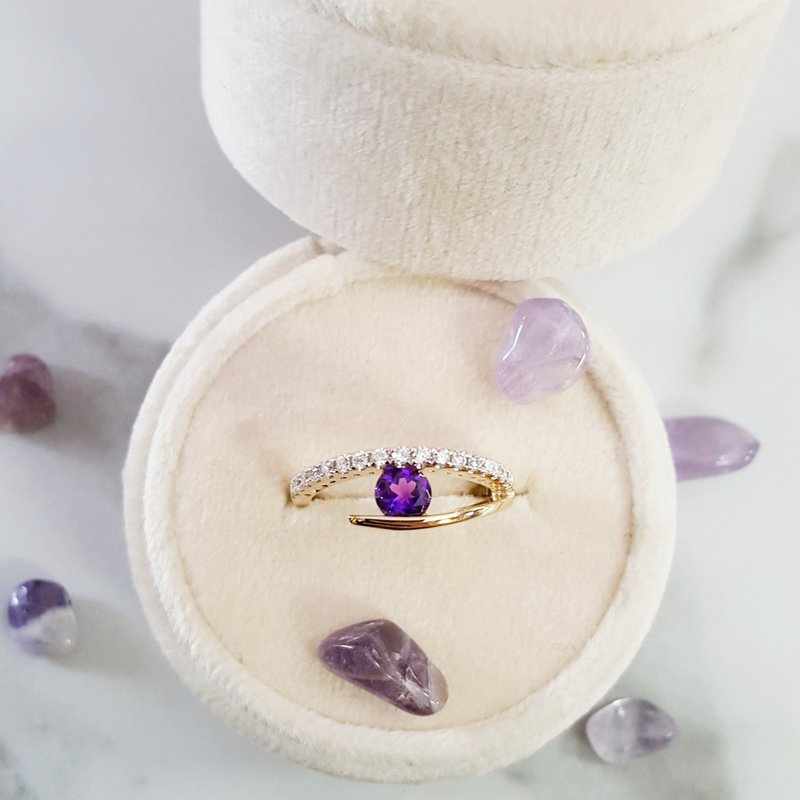 Arizona Amethyst™ Gold Jewelry Open Shank Tension Set Ring