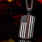 INOX Men's Jewelry American Flag Firefighter Military Style Dog Tag