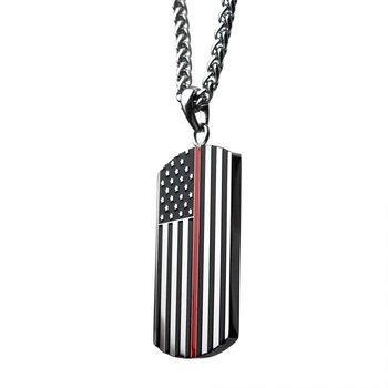 American Flag Firefighter Military Style Dog Tag