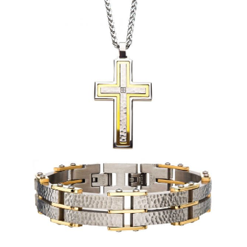 Stainless Steel Gold Plated Hammered Modern Bracelet and Pendant with Chain