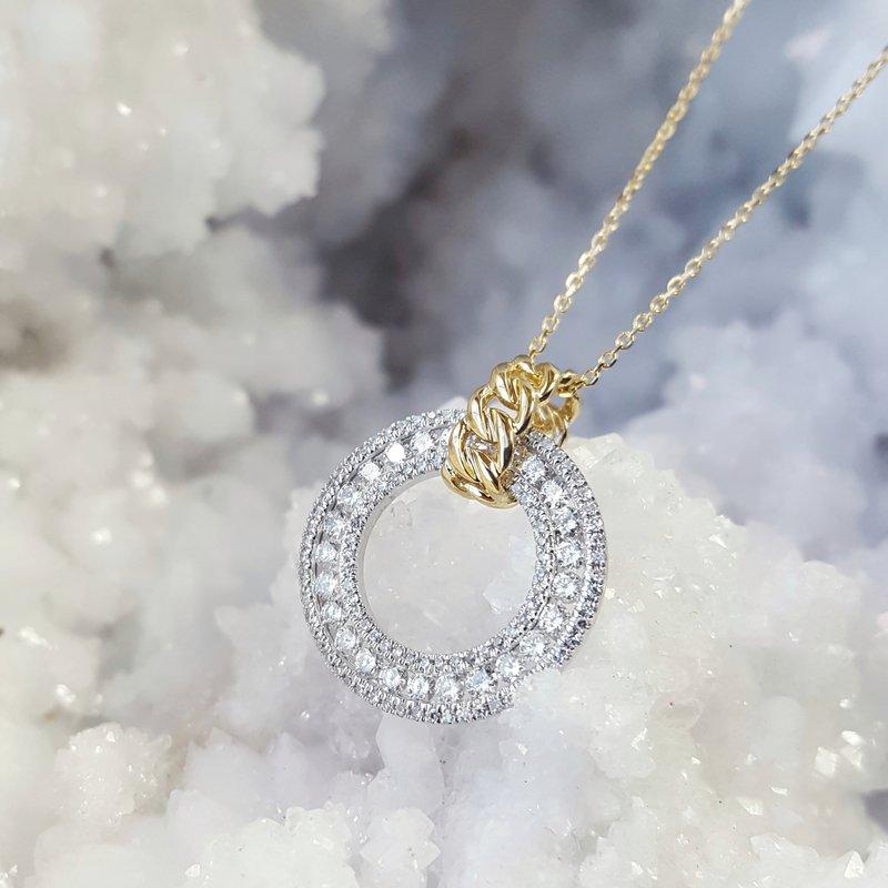 Sami Fine Jewelry Two-Tone Diamond Circle Pendant