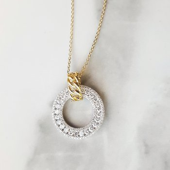Two-Tone Diamond Circle Pendant
