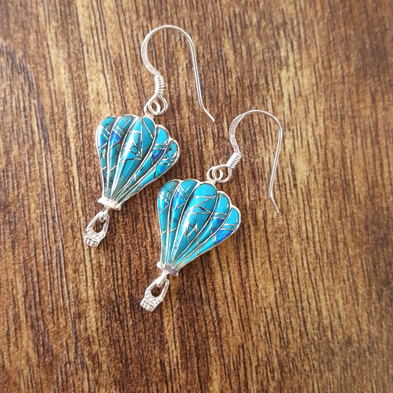 Arizona Turquoise and Inlaid Jewelry Turquoise Hot Air Balloon Earrings