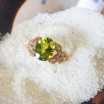 Peridot Vintage Inspired Flower Ring
