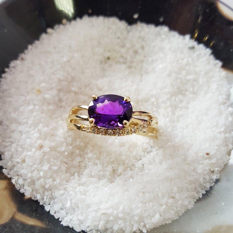 Arizona Amethyst™ Gold Jewelry Asymmetrical Wave Ring