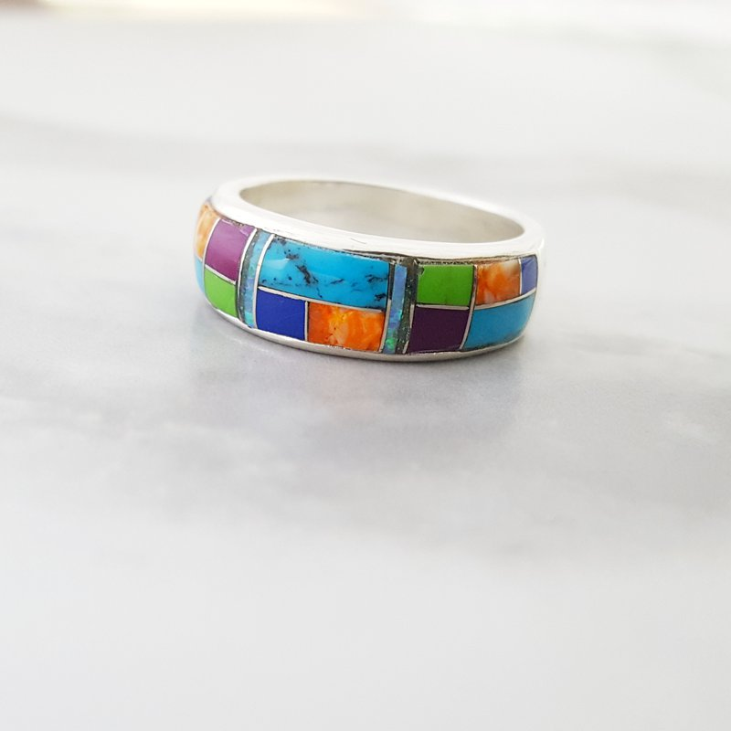 Arizona Turquoise and Inlaid Jewelry Multicolored Geometric Ring
