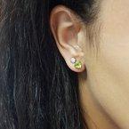 Arizona Peridot Silver Jewelry Trillion Stud Earrings