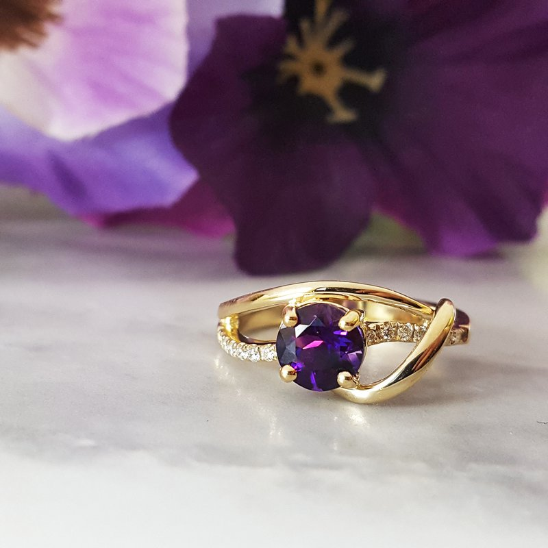 Arizona Amethyst™ Gold Jewelry Amethyst Swoop Band Ring