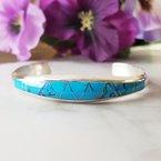 Arizona Turquoise and Inlaid Jewelry Tapered Turquoise Cuff