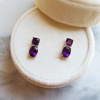 Double Gem Arizona Amethyst Earrings