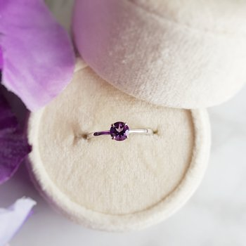 Sterling Silver Solitaire Amethyst Ring
