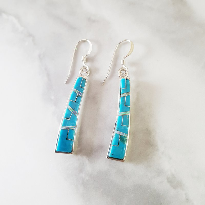 Arizona Turquoise and Inlaid Jewelry Turquoise Curved Dangle Earrings